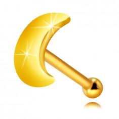 Piercing al naso, in oro giallo 9K - mezzaluna piatta brillante