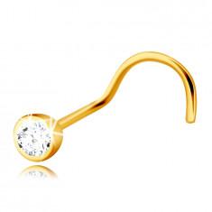 Piercing al naso in oro 9K con lato curvo - zircone chiaro in montatura rotonda, 2 mm