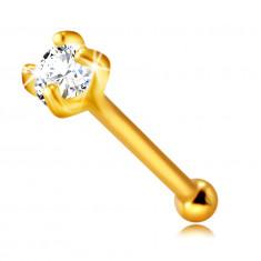iercing al naso, in oro 9K - zircone chiaro rotondo in montatura a quattro griffe, 2 mm