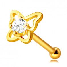 Piercing al naso in oro 9 K - contorno farfalla con zircone rotondo chiaro, 4mm