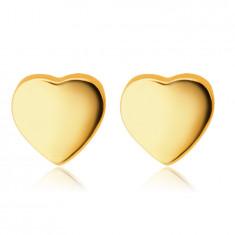 Orecchini in oro giallo 9K - cuori lisci e brillanti, a bottone