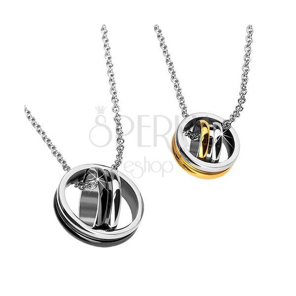 comprare on line eae5e b2963 Ciondoli per la coppia - cerchi incrociati, colore oro e nero ...