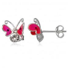 Orecchini d'argento 925 - farfalla rosa volante, due zirconi