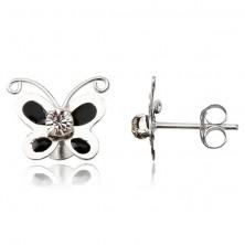 Orecchini d'argento 925 - farfalletta smaltata nera, zircone chiaro