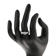 Anello di fidanzamento in argento 925 - zircone rotondo nelle strisce intrecciate